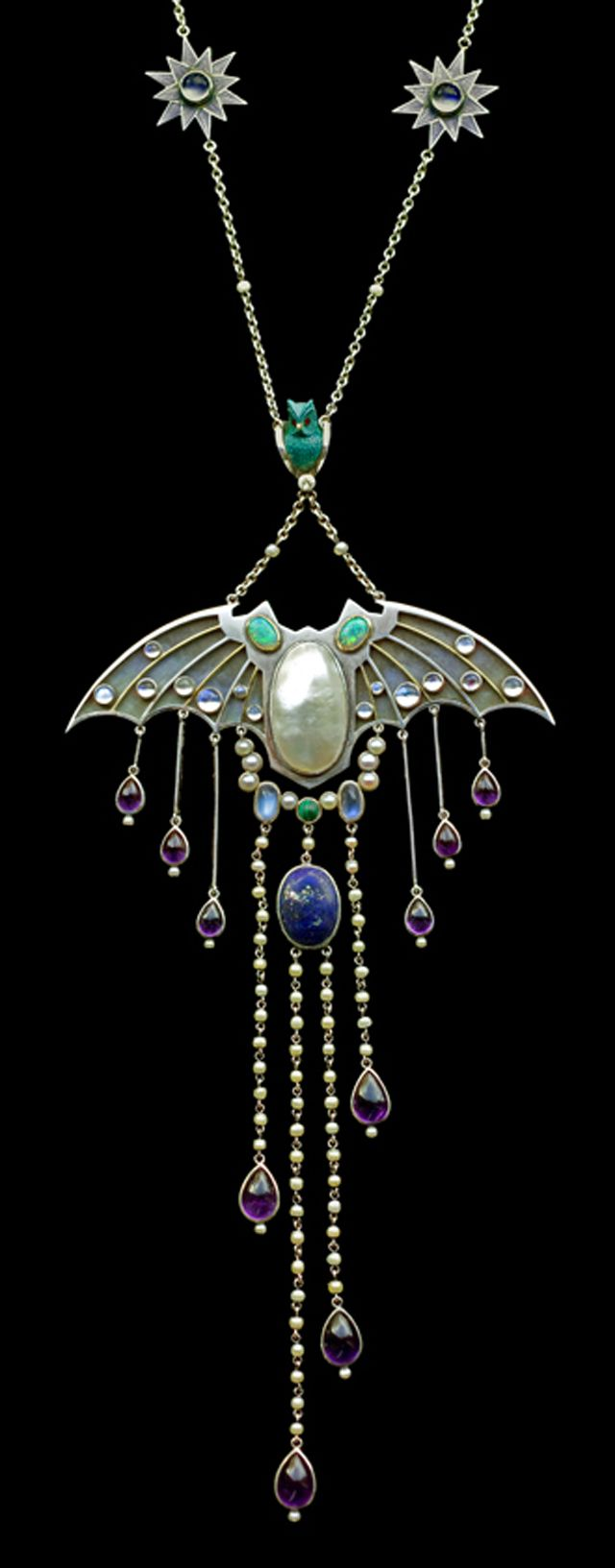 Silver and semi precious stones, Jugendstil style circa 1910. Look at the wee lil' bat!
