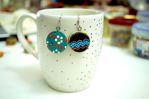 Recycled Wine Cork Earrings - Two Sided - Blue Waves on Black and White Flowers on Blue