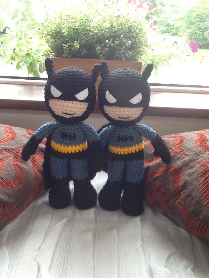 Handmade Batman Dolls. Get them here - https://www.facebook.com/CBKnits