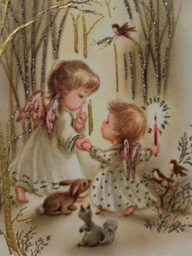 #1647 60s Sweet Glittered Angels & Animals-Vintage Christmas Greeting Card
