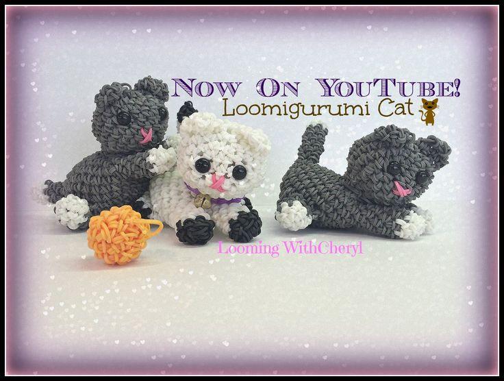 Rainbow Loom Kitty Cat Loomigurumi Amigurumi Hook Only Кот Лумигуруми Now On YouTube =) Action, figures, animals.