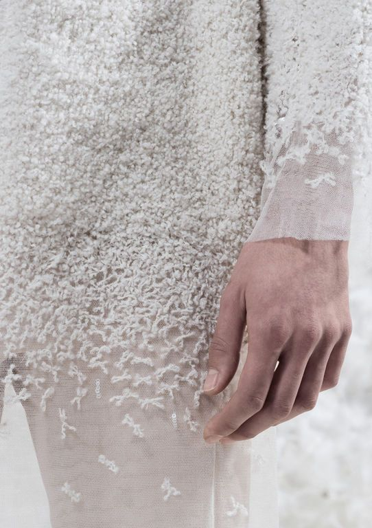 Textiles for Fashion - delicate sheer jacket with pale embroidered textures // Alexis Housden White on white textures