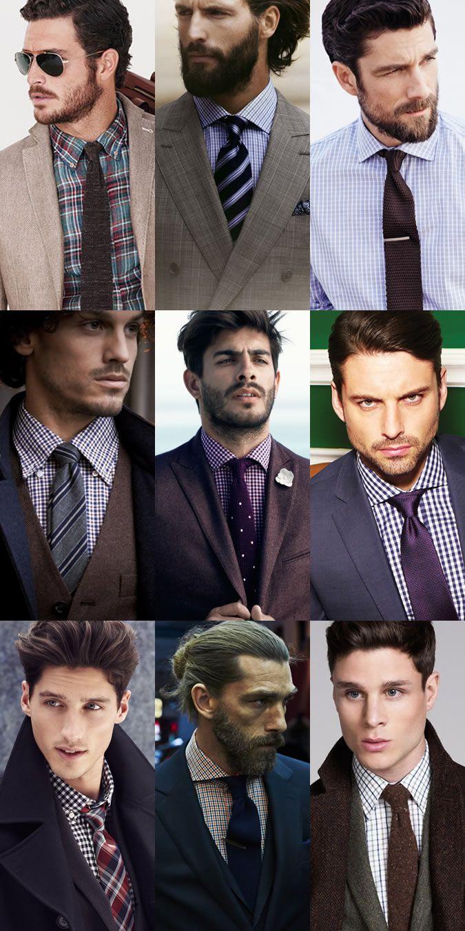 Men's Checked Shirt & Tie Combinations Lookbook Inspiration
