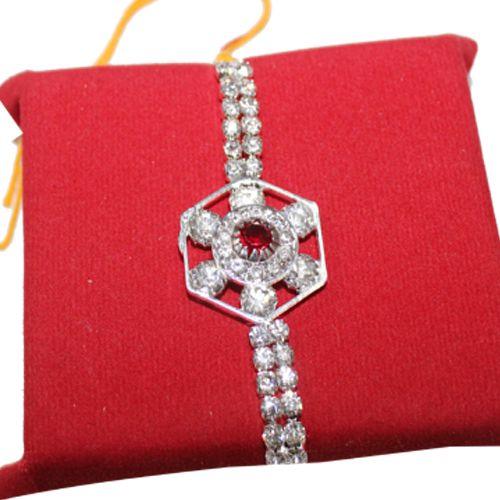 online indian stunning Bueutiful silver stone rakhi at @handicrun