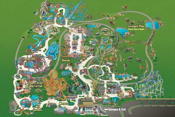 Park Map Busch gardens, Busch gardens tampa, Busch