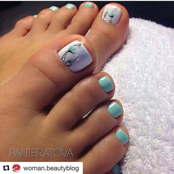Más de 40 fotos de uñas decoradas para Pies – Foot nails | Decoración de Uñas - Nail Art - Uñas decoradas