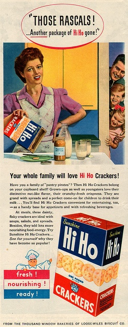 hi ho crackers ad 1944 by it's better than bad, via Flickr Vintage Ad