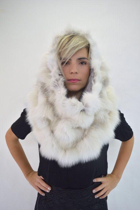 Real fur collar white fox fur cowlreal fox fur fur collar by BeFur