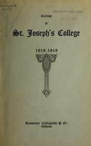 Catalog from Saint Joseph's College, Rensselaer IN - Yearbook 1917-1918, Announcements 1918-1919