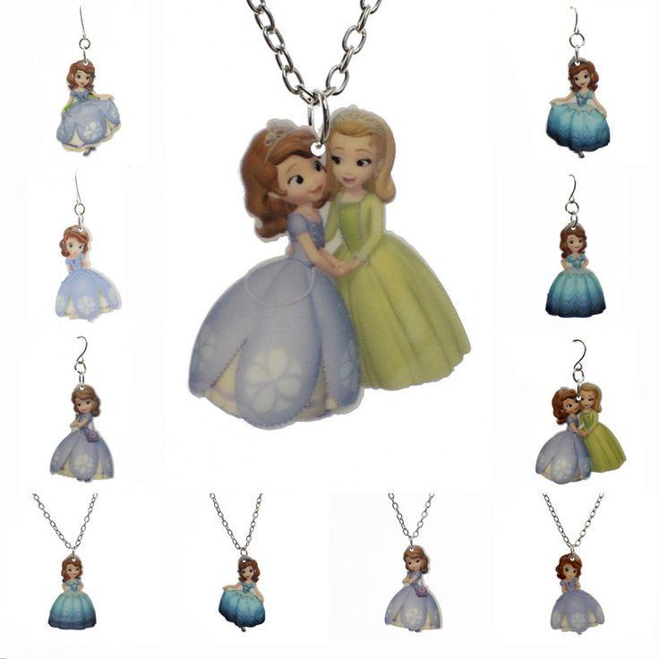 Fashion Kawaii New Little Princess Pendant For Little Girls Cartoon Planar Resin Children's Jewelry Earring/Necklace KS146
