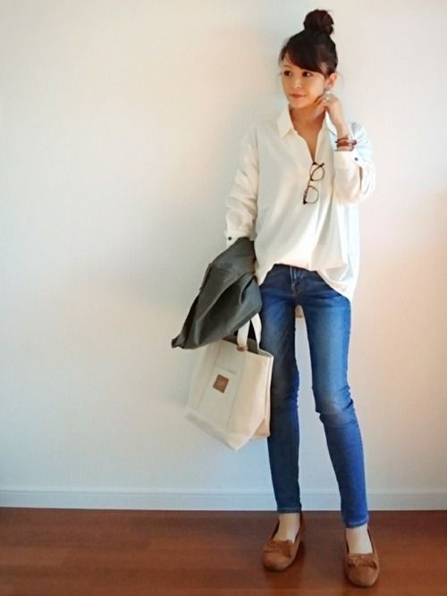 White blouse, moccassins