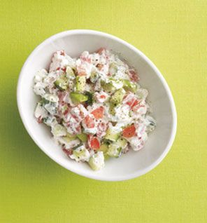 """In love with this salad. I had it for lunch and it's so good! Cucumber Salad     In a bowl, combine 1/2 cup nonfat plain Greek yogurt, 1/2 cup diced cucumber, 1/2 cup diced tomato, 1/4 chopped avocado, 1/8 tsp sea salt, a pinch of black pepper. The Skinny 145 calories, 5 g fat (1 g saturated), 13 g carbs, 4 g fiber, 14 g protein"""