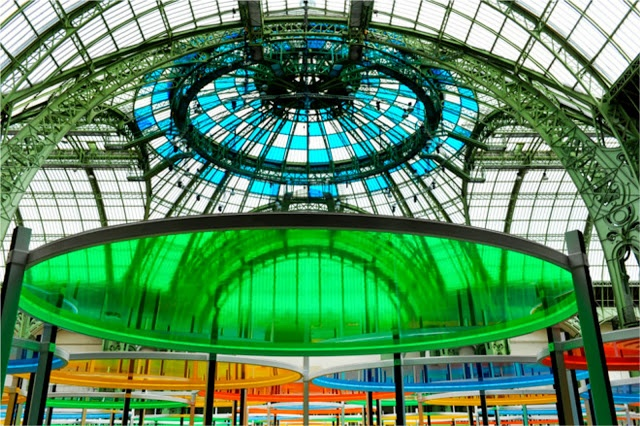 Domenique Mora : Daniel Buren Excentrique's At The Monument Grand Palais In Paris