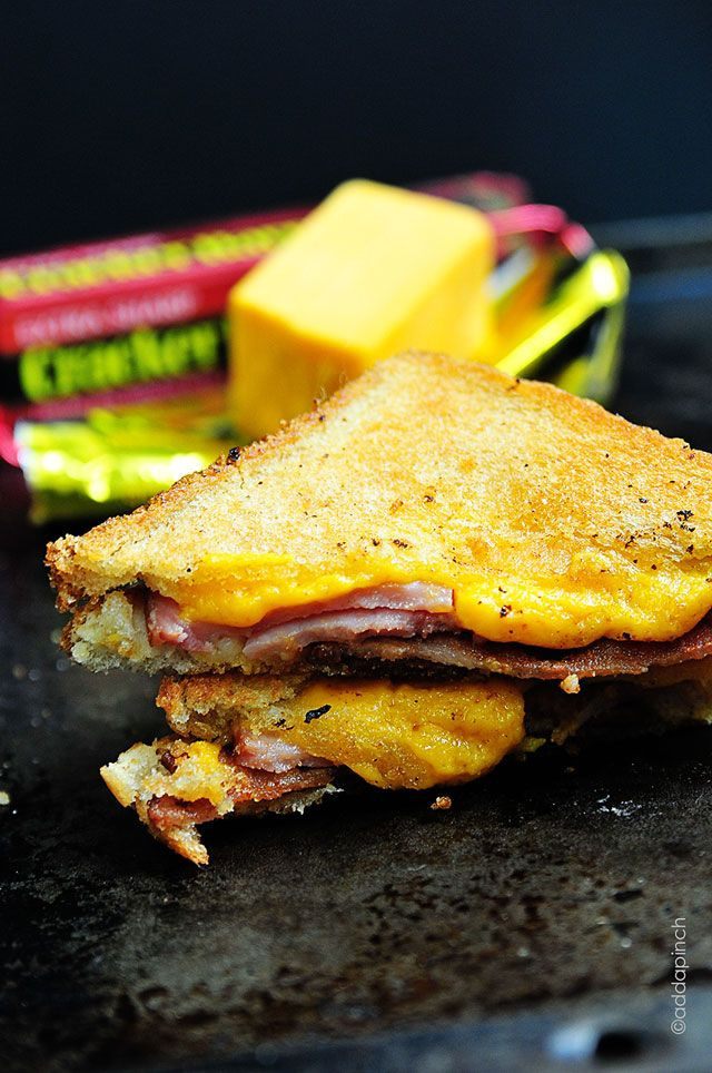 Grilled Cheese Sandwich with Ham and Bacon Recipe from addapinch.com
