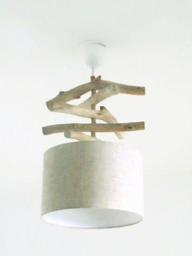 lustre suspension plafonnier en bois flotte lin 28 cm slow deco jourdepluiecreations ebay. Black Bedroom Furniture Sets. Home Design Ideas