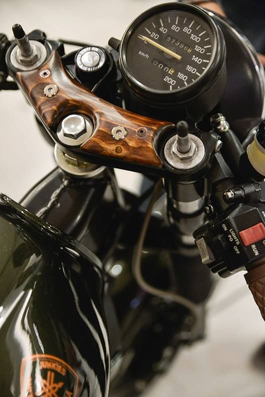 Cool wood accent on a motorcycle