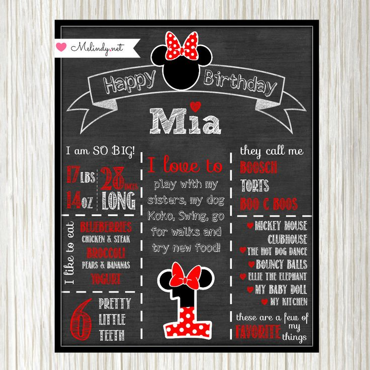 Minnie Mouse Chalkboard Birthday 11x14 Printable Poster! by MelindyDesigns on Etsy