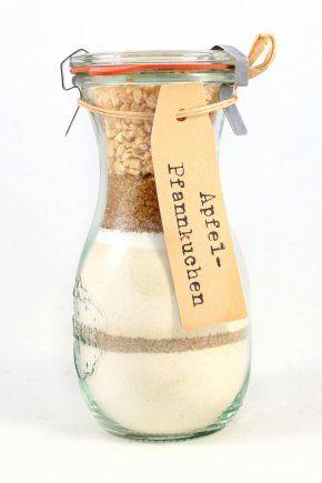 Backmischung im Glas, backen, Kuchen, selber machen, Geschenk, verschenken, grüßen, Pfannkuchen