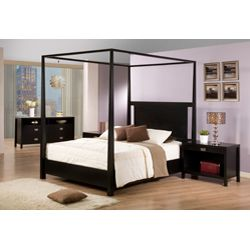 @Overstock - This solid hardwood queen size canopy bed would bring a huge splash of hotel luxury straight into your home. Its tall, elegant, tapered posts and open top oozes sophistication and the cut out headboard adds a modern appeal to this classic piece. http://www.overstock.com/Home-Garden/Napa-Queen-size-Black-Canopy-Bed/5749895/product.html?CID=214117 $582.99