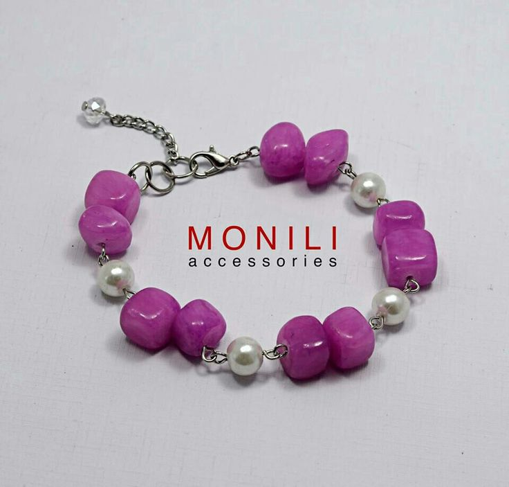 Shocking pink riverstone bracelet by Monili https://www.tokopedia.com/monili/shocking-pink-river-stone-bracelet-bc-016