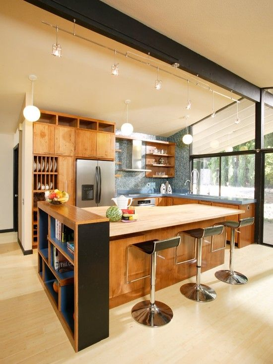 Mid century modern kitchens design pictures remodel for Mid century modern kitchen lighting