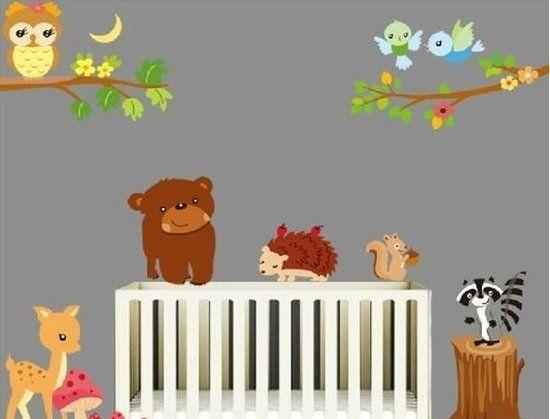 Muursticker dieren in het bos / Wanddecoratie kinderkamer / babykamer inrichting