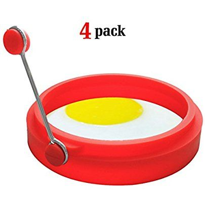 Amazon.com: Ozera 4 Pack Nonstick Silicone Egg Ring Pancake Mold, Round Egg Rings Mold, red: Kitchen & Dining