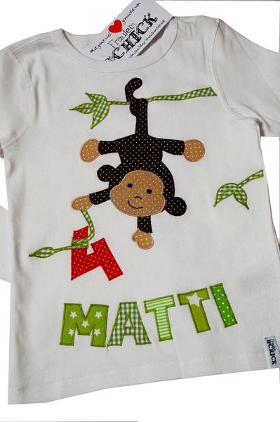 """Geburtstagsshirt, Shirt """"kleines Äffchen"""" von Fräulein Schick auf DaWanda.com"""