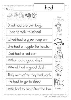 Sight Word Fluency Reading Homework Grade 1 Teatching