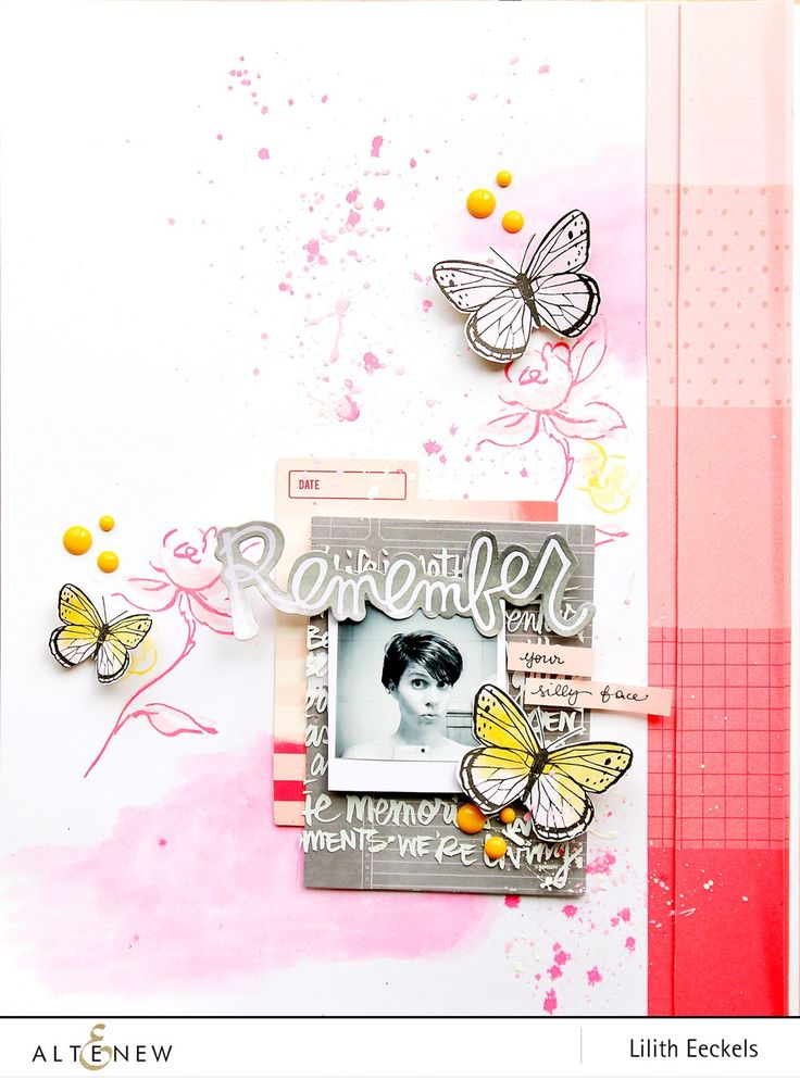You'll never go wrong with flowers and butterflies together. Lilith Eeckels, our scrapbooker, created this whimsical layout. Check her how-to video on our blog and see what Altenew supplies she used. www.altenew.com