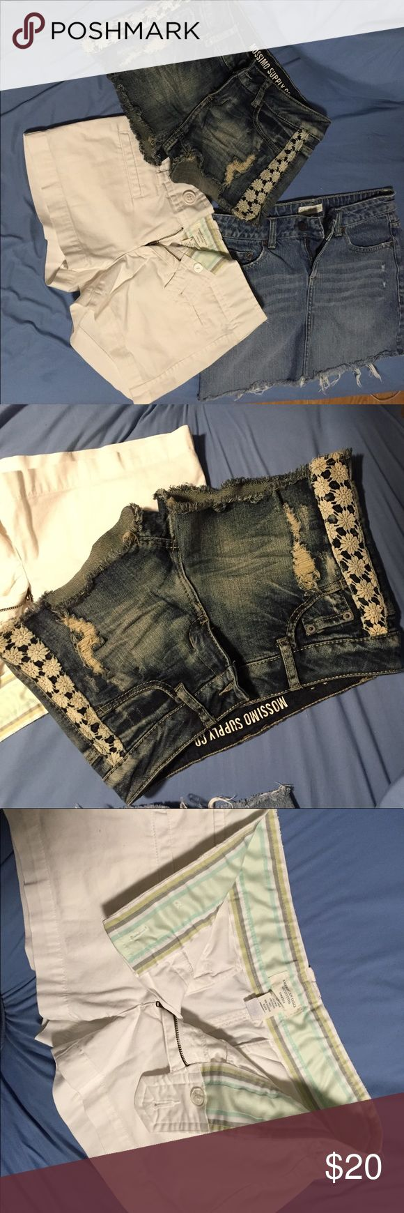 Bundle of 3-jean shorts, jean skirt, cotton shorts American Eagle white cotton shorts size 2. Massimo jean shorts size 5. Aeropostale jean skirt size 1/2. All in gently used condition American Eagle Outfitters Shorts Jean Shorts