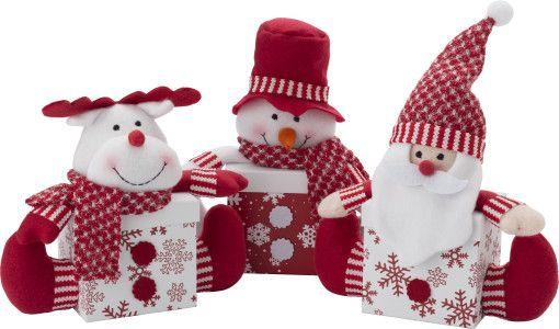 #Kerst #geschenkboxen met 3D sneeuwpop, rendier of Kerstman