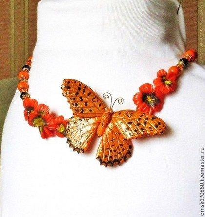 """Ожерелье """"Оранжевое лето"""" - оранжевый,авторское украшение,авторское ожерелье"""