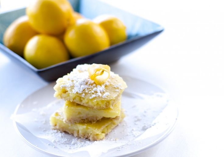 Healthy Meyer Lemon Bars. This healthy version is only 87 calories a bar and tastes better than the original! Click here for the recipe: : http://www.proshapefitness.com/2014/01/26/healthy-meyer-lemon-bars/