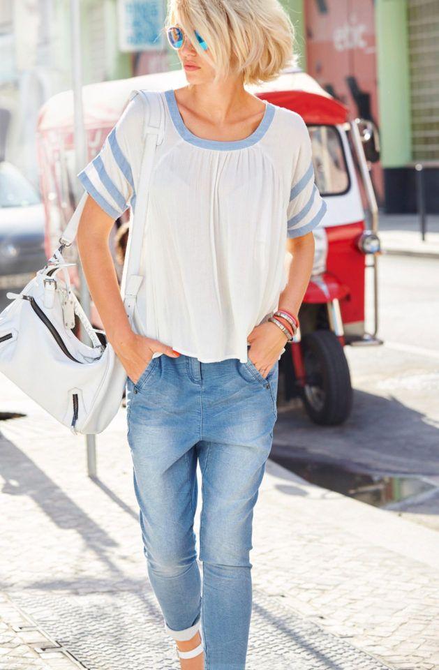 Aniston Boyfriend-Jeans, Sweatware in Denim-Optik, »vertiefter Hosenschritt«, ab € 44,99