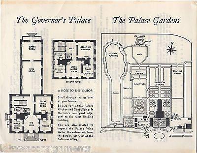 COLONIAL WILLIAMSBURG VIRGINIA GOVERNOR'S PALACE GARDENS VINTAGE SOUVENIR MAP