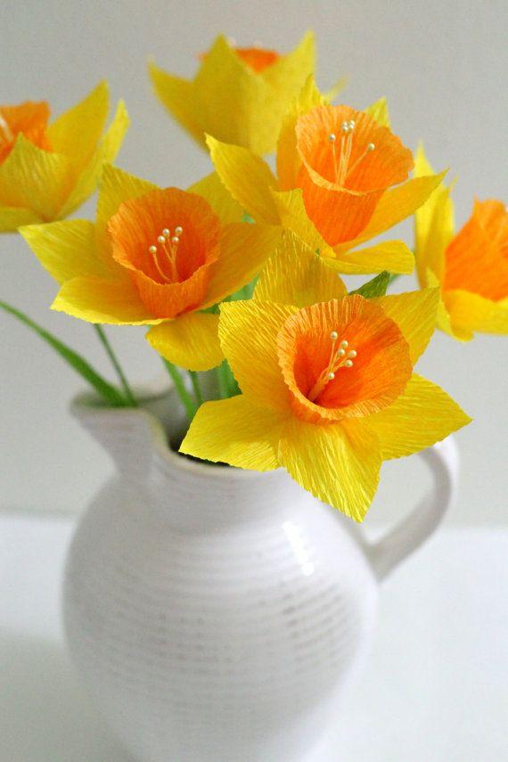 SEIS flores de papel hechas a mano Narciso para la decoración de la mesa, homedecor