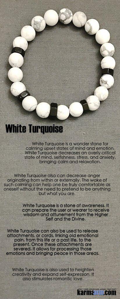 Bracelets I Law of Attraction  #LOA | Beaded & Charm Yoga Mala I Meditation & Mantra I Spiritual. White Turquoise Black Hex.