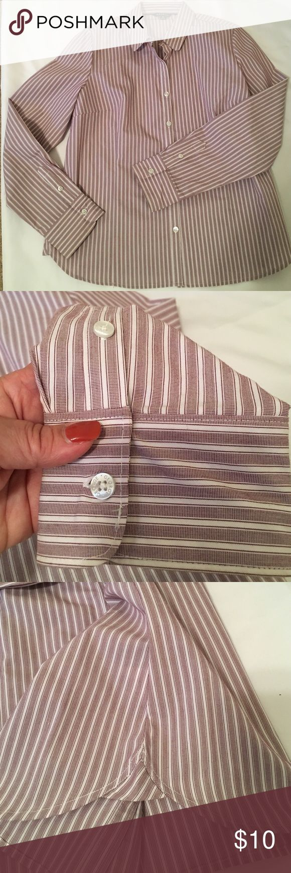 Lady's Classic pin striped shirt. Work or fun! Classic striped ladies shirt. Great for the office layered under a blazer or cardigan with dress pants or skirt. Or top it with a Jean jacket and scarf for apple picking in the fall. The color has a feminine touch. Shirt tail hem. Size is XL for 12-14. Like brand new. Low priced garments of $14 or less are fair and firm. Thank You.😊 Tops Button Down Shirts