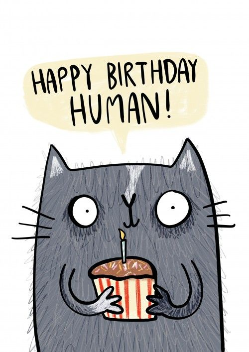 Happy Birthday Human - Birthday Card. And if your paws aren't made for writing, don't worry, you can upload a video message on this card.