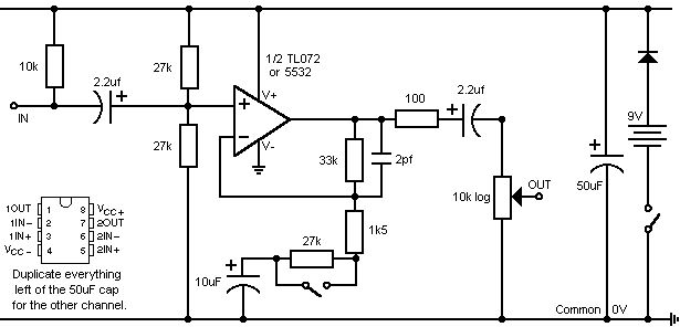 simple stereo electret mic preamp
