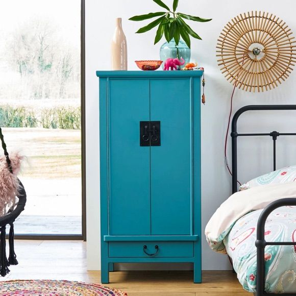 Armoire Chinoise Bleue Style Traditionnel Home Sweet