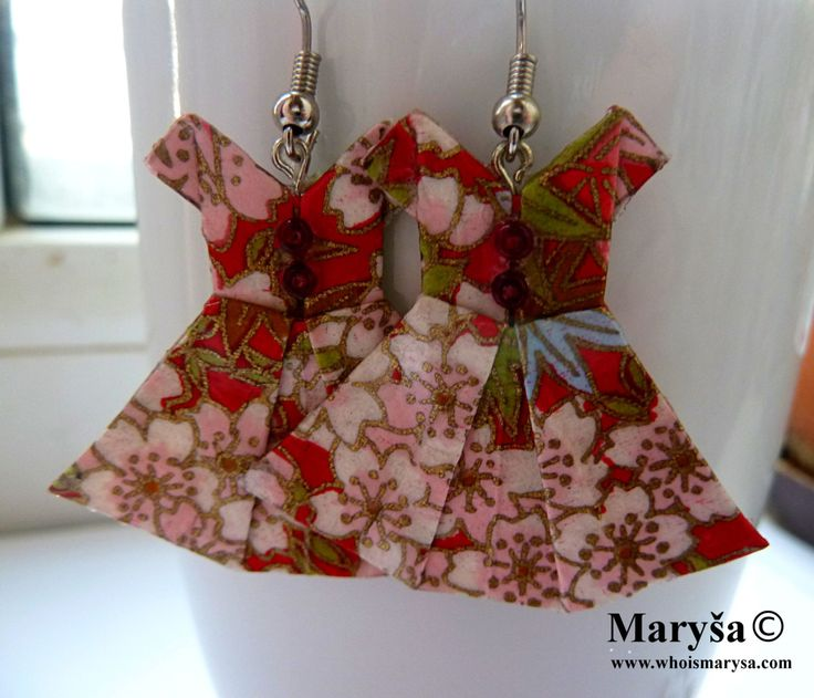 Origami Dress earrings Red with white flowers Dress washi dangle earrings Japanese Dress with flowers Gift for her Romantic Gift Idea by MarysaArt on Etsy
