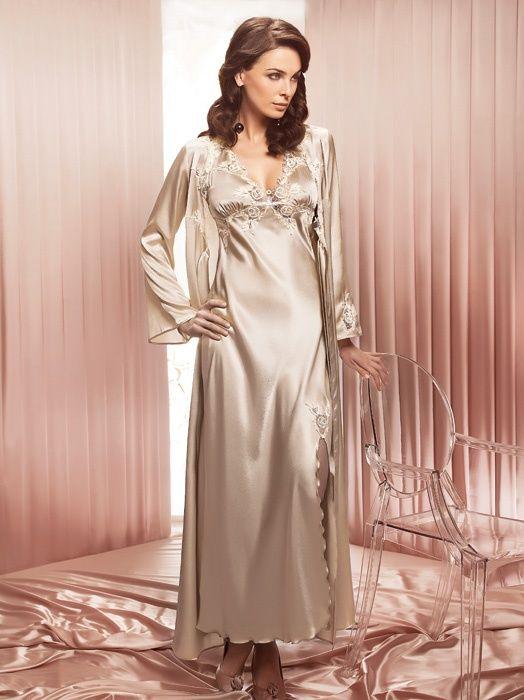 Silk And Satin Sleepwear Long Satin Nightdress By Coemi