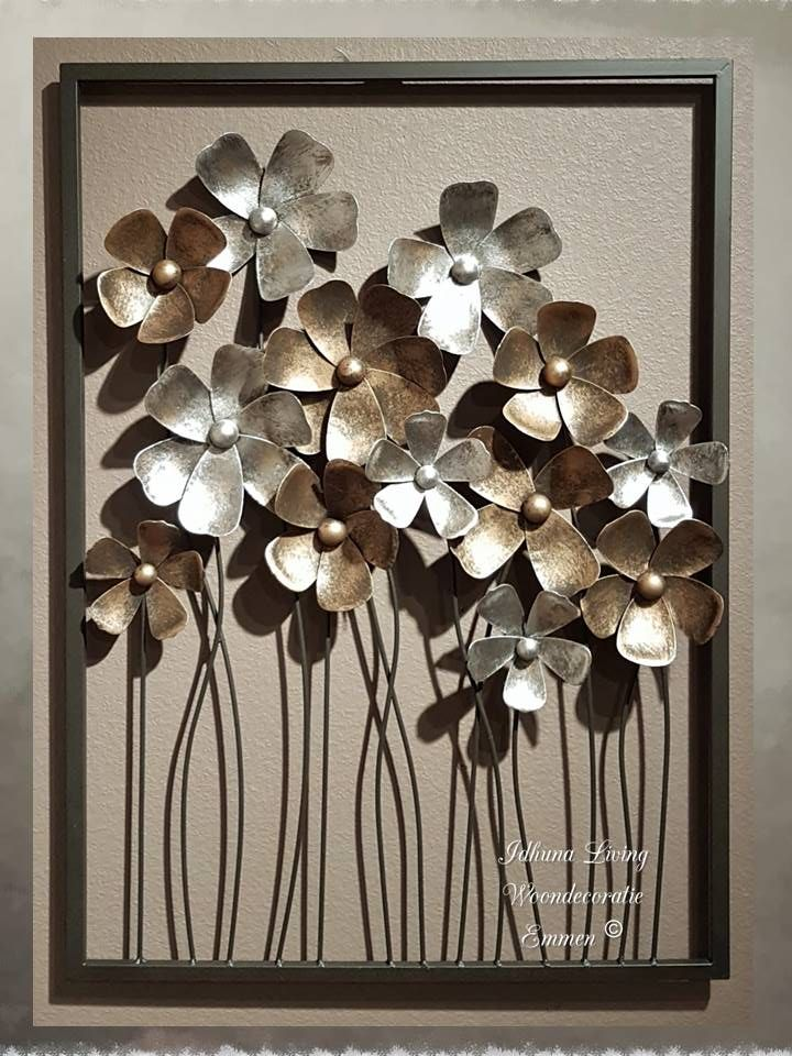 Metalen Wanddecoratie Bloemen Gold Silver 58 X 81 Xm Metalen Bloemen Muurkunst Decoratie Decoraties