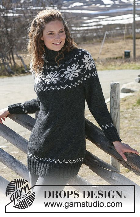 Midnight Rose / DROPS 116-12 - Knitted DROPS jumper with round yoke sleeves in 2 threads Alpaca. Size S – XXXL.