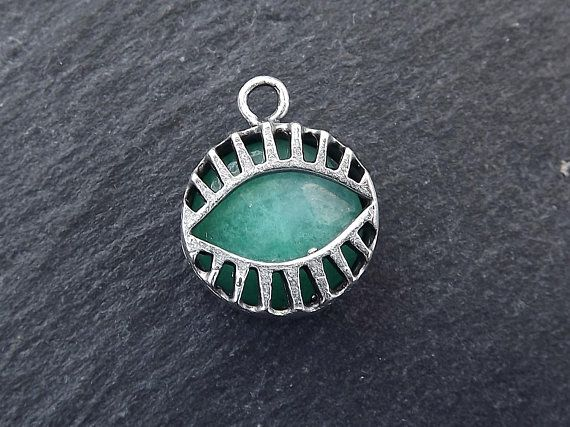 644d379fab865 Aqua Evil Eye Jade Stone Pendant Charm Evil Eye Pendant Evil | Lyla ...