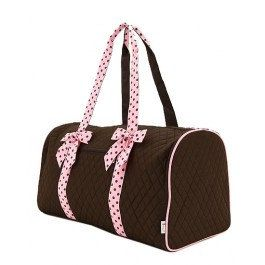 "large brown and light pink duffel bag Zipper Closure Front Zipper Pocket Metal Feet on the Bottom Gingham Lining Monogrammable Detachable Polka dots Ribbon Accent Open & Zippered Pockets Inside Materials : Microfiber Length/Height/Width : 21.0"" / 12.0"" / 11.0"" This bag is great for carrying arround baby essentials while being in style. This makes a great baby shower gift. It is great for an everyday bag. FREE PERSONALIZATION WITH EVERY ORDER!!!"