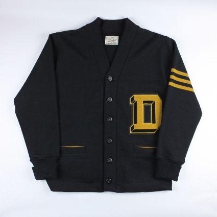 Dehen 1920 Signature Varsity Cardigan in Black/Old Gold