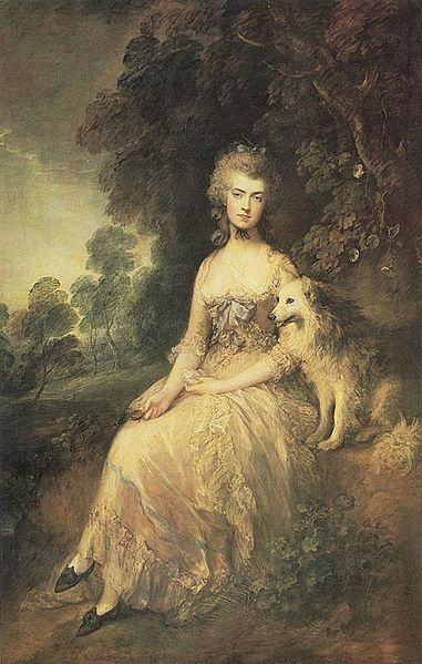 actress and writer, Mary Robinson, by Thomas Gainsborough. She was mistress of the future King George IV while he was still Prince of Wales, and later the mistress of Banastre Tarleton (aka the Butcher, aka the Green Dragoon, a British colonel in the American Revolution).